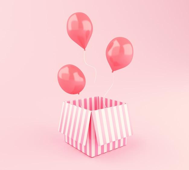 Globos rosados 3d que flotan y caja de regalo en fondo rosado.