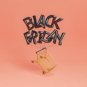 Globos de viernes negro con un carrito de compras colgante