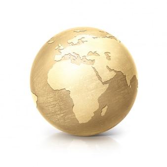 Golden globe 3d ilustración europa y áfrica mapa sobre fondo blanco.