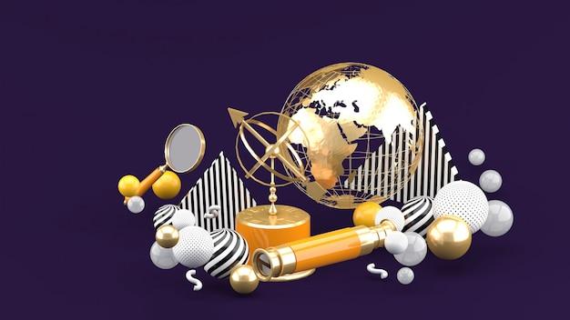 Golden globe, lupa, binoculares y reloj de sol entre bolas de colores en un espacio morado