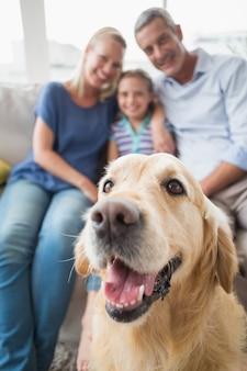 Golden retriever con familia feliz en casa