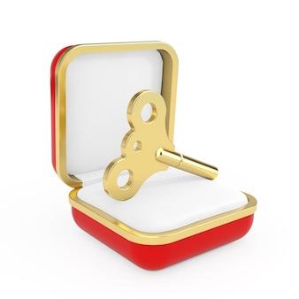 Golden windup key en la caja de regalo roja sobre un fondo blanco. representación 3d
