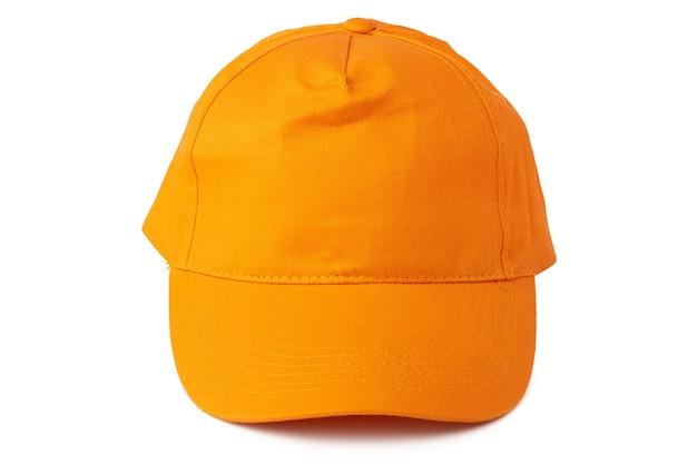 Gorra de béisbol amarilla aislada sobre fondo blanco cerrar