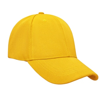 Gorra de béisbol amarilla aislada sobre fondo blanco con trazado de recorte