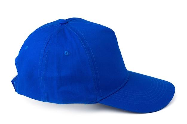 Gorra de béisbol azul aislado sobre fondo blanco cerrar