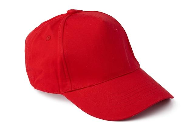 Gorra de béisbol roja aislada sobre fondo blanco cerrar