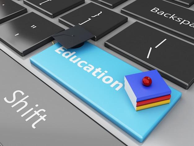 Gorra de graduación 3d, libros en el teclado de la computadora.
