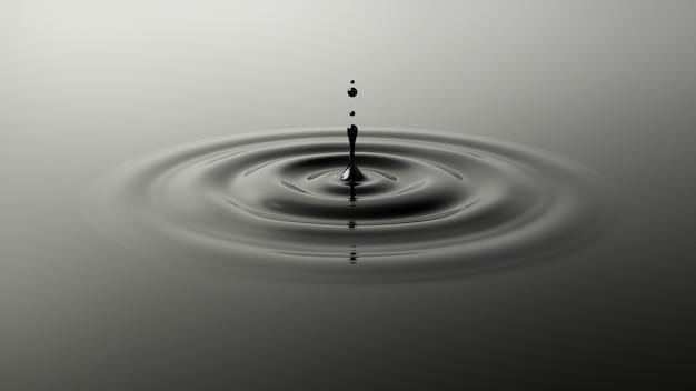 Gota de aceite cayendo sobre la superficie negra. salpicaduras de líquido oscuro.