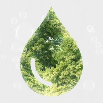 Gota de agua verde del ecosistema con técnica mixta de árbol