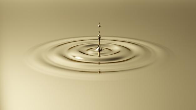 Gota cayendo sobre la superficie dorada. salpicaduras de líquido dorado.