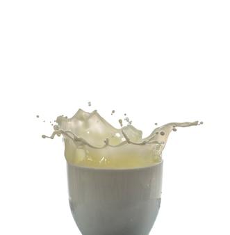 Gota de leche y salpicaduras aisladas sobre fondo blanco.