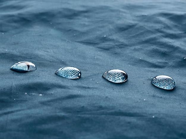 Gotas de agua sobre la tela.