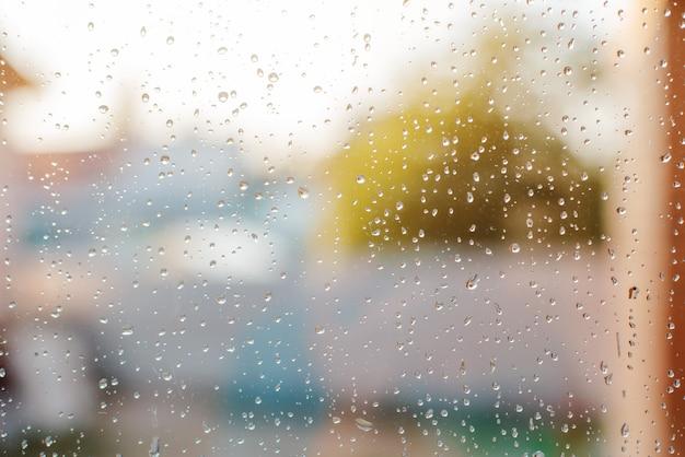 Gotas de lluvia en ventana mojada con el árbol verde y luz del sol en el fondo, día lluvioso de la primavera.