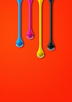 Gotas de tinta cmyk 3d aisladas sobre fondo de papel rojo. ilustración
