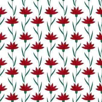 Gouache flores rojas de patrones sin fisuras.