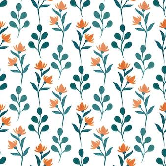 Gouache patrón floral sin fisuras.