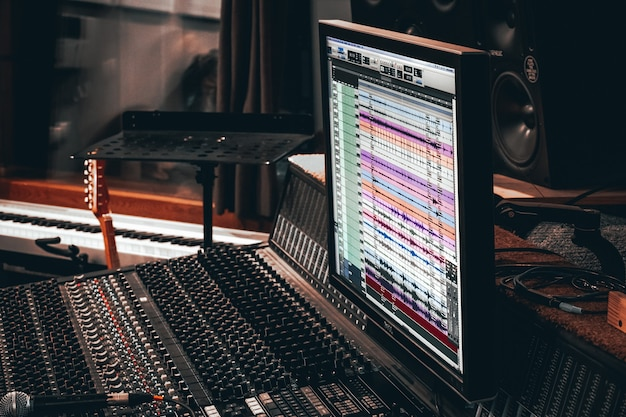 Grabación de música en la banda sonora del estudio