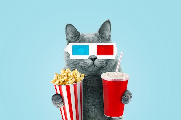 Gracioso gato hipster en gafas estéreo 3d comiendo palomitas de maíz y una coca cola en el cine sobre un fondo azul.