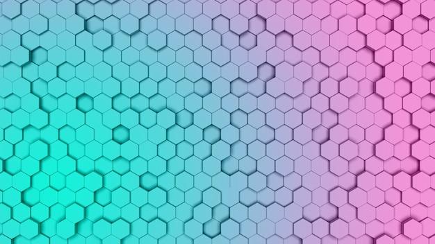 Gradien púrpura y cian células hexagonales, textura peine. 3d antecedentes