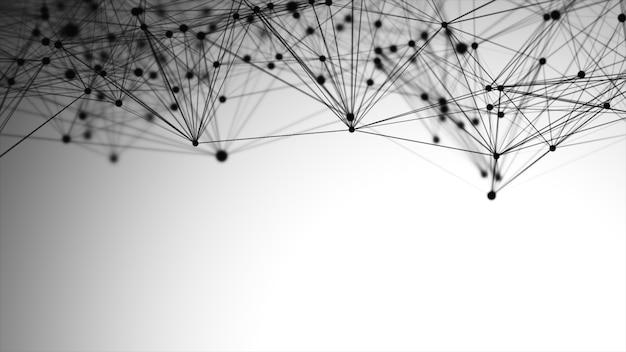 Gráfico abstracto compuesto por puntos, líneas y conexión, tecnología de internet.
