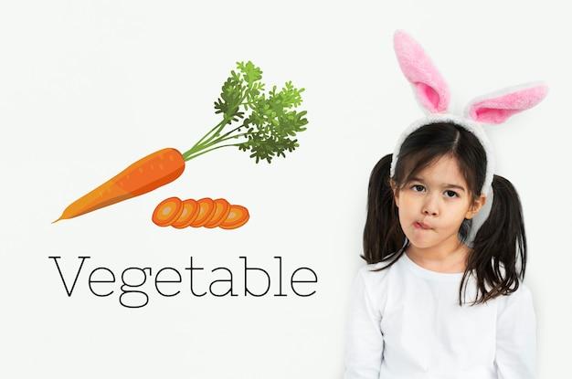 Gráfico de alimentos vegetales de alimentación saludable de zanahoria fresca
