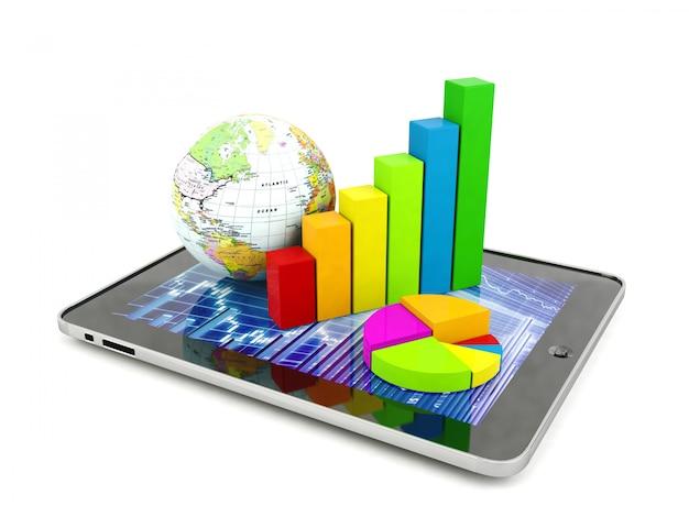 Gráfico de barras, gráfico circular y globo en tableta.