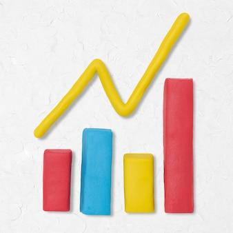 Gráfico de barras icono de arcilla gráfico de arte creativo hecho a mano lindo negocio