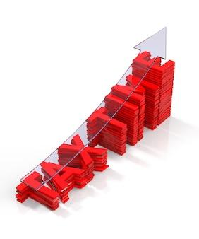 Gráfico de barras de tiempo de impuestos con representación 3d de flecha transparente