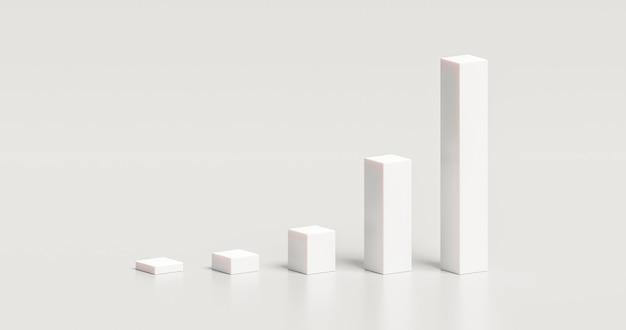 Gráfico blanco gráfico elemento de diseño de ilustración 3d del concepto gráfico de diagrama de presentación de negocios aislado sobre fondo blanco con informe de icono de datos de infografía de crecimiento en blanco y símbolo moderno.