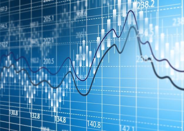 Gráfico de bolsa, diagrama de análisis de negocios.