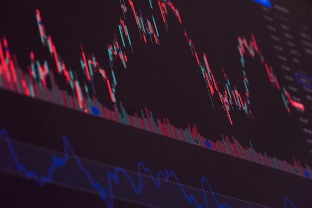 Gráfico de la bolsa financiera. bolsa. enfoque selectivo.