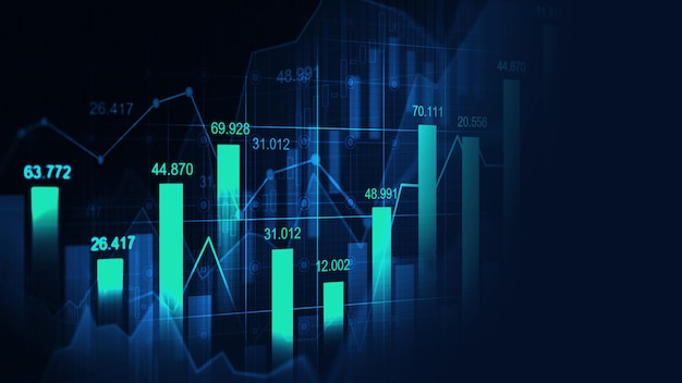 Gráfico bursátil o forex en concepto gráfico