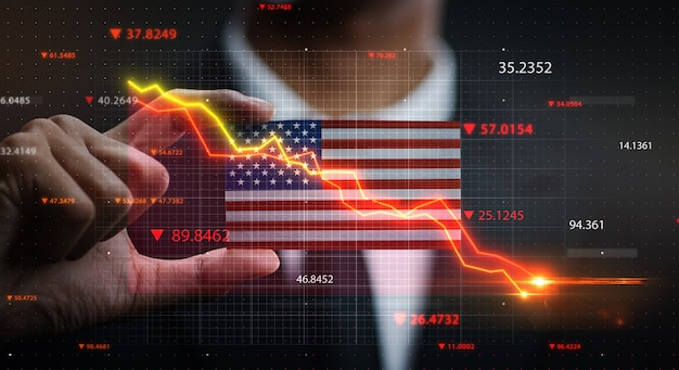 Gráfico cayendo en frente de estados unidos de américa de la bandera. concepto de crisis