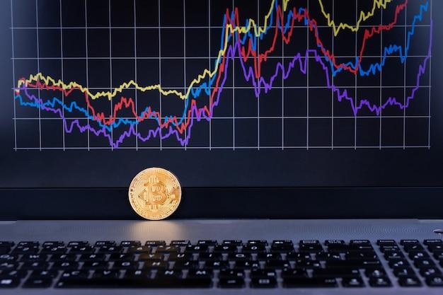 Gráfico de computadora portátil bitcoin