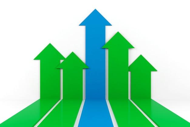 Gráfico de flecha de negocios, representación 3d