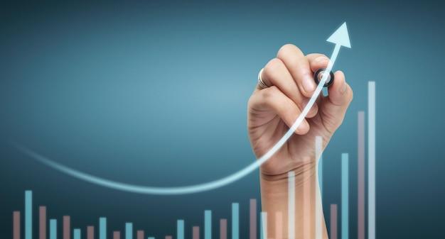 Gráfico de dibujo a mano, gráfico de stock de crecimiento