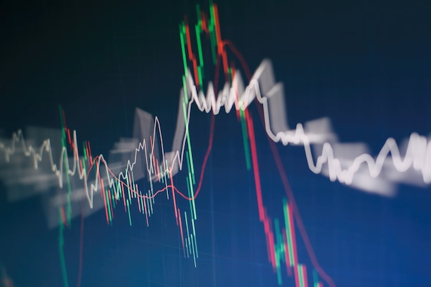 Gráfico e indicador de precio técnico, gráfico de velas rojas y verdes en la pantalla temática azul, volatilidad del mercado, tendencia al alza y a la baja. comercio de acciones, fondo de moneda criptográfica.
