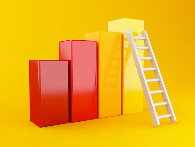 Gráfico estadístico 3d con escalera.