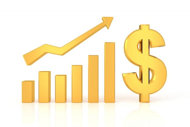 Gráfico exitoso con signo de dólar. representación 3d.