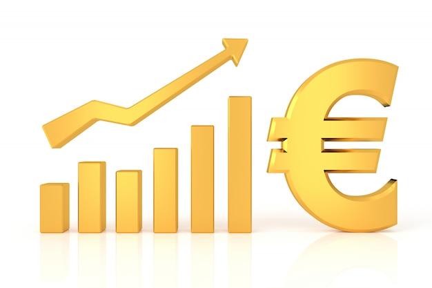 Gráfico exitoso con signo euro. representación 3d.