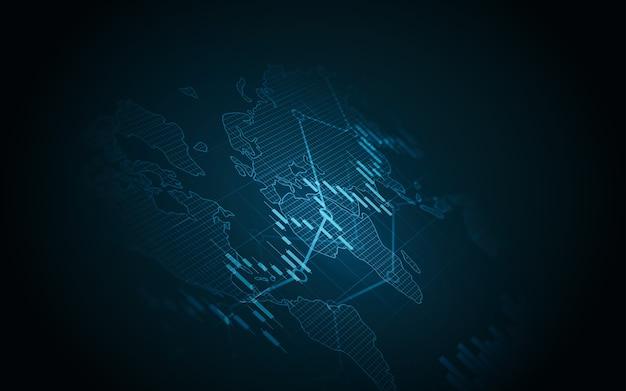Gráfico financiero con gráfico de líneas de tendencia ascendente y mapa mundial en el mercado de valores sobre fondo de color azul
