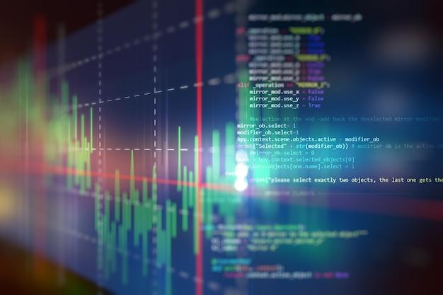 Gráfico financiero sobre fondo abstracto de tecnología
