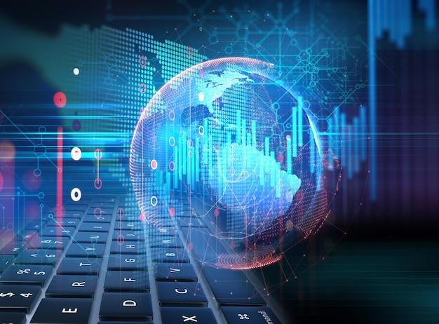 Gráfico financiero técnico sobre fondo abstracto de tecnología