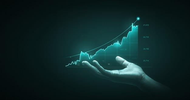Gráfico de finanzas de análisis de hombre de negocios y gráfico de mercado, inversión empresarial, intercambio de moneda de dinero de las acciones de la economía de crecimiento en el fondo comercial con ganancias de ganancias de información económica global de éxito.