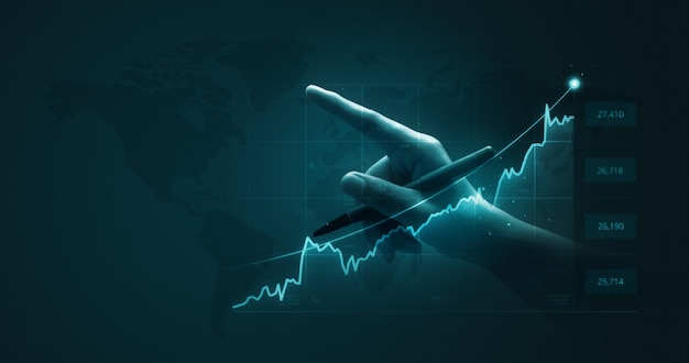 Gráfico de finanzas de análisis de hombre de negocios y gráfico de mercado de inversión de negocios de inversión moneda de dinero de acciones de economía de crecimiento sobre fondo de comercio con ganancias de ganancias de información económica global de éxito.