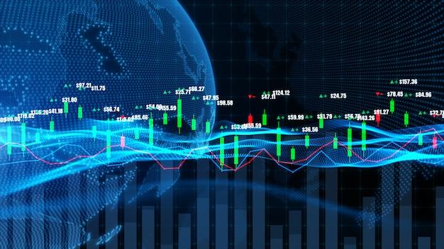 Gráfico gráfico de velas con datos digitales, tendencia alcista o bajista del precio del mercado de valores o bolsa de valores, inversión y concepto financiero.
