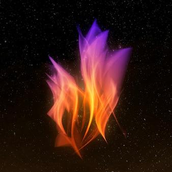 Gráfico de llama de fuego degradado retro