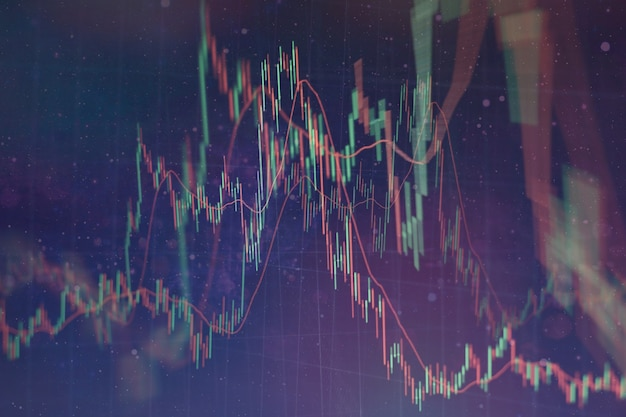 Gráfico del mercado de valores y datos financieros comerciales en led. gráfico de negocio e indicador financiero bursátil. concepto de análisis de mercado de valores o negocios.