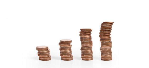 Gráfico del mercado de valores. montón de monedas en pilas