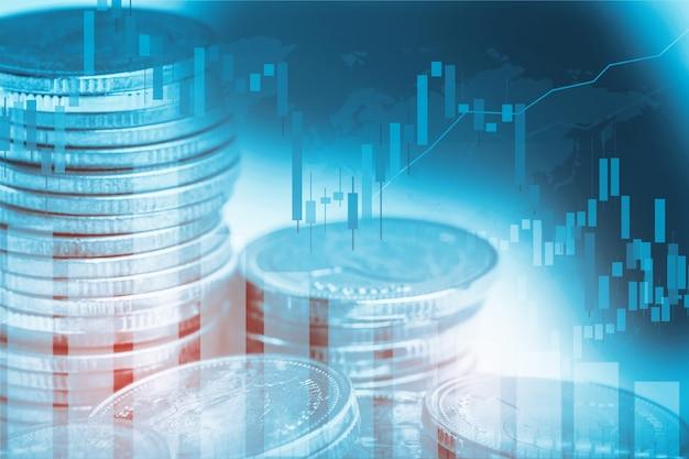 Gráfico y moneda financiera de comercio de inversión bursátil